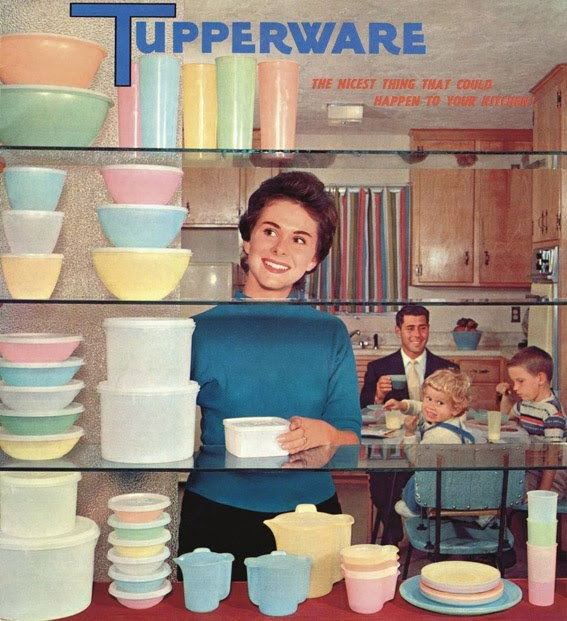 Tupperware's first products: Wonderlier Bowl and the Bell Tumbler upper shelf
