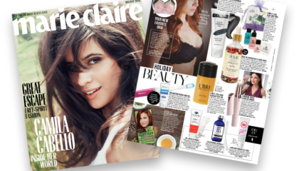 L'Bri featured in Marie Claire December aloe based skin care set